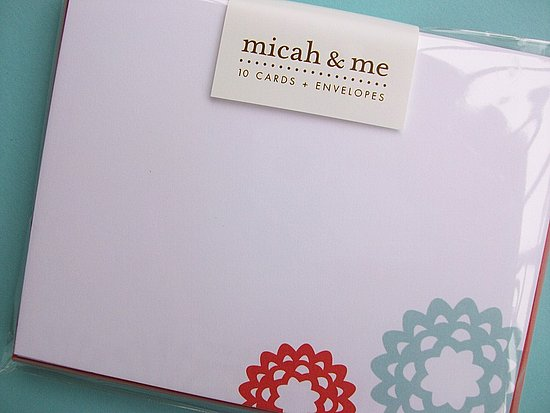 Micah & Me pared down the traditional doily motif and printed it on a set of cards ($10).