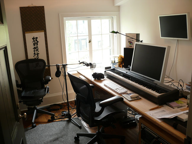 Sheffer's recording studio is equipped with essentials like ergonomic task chairs.