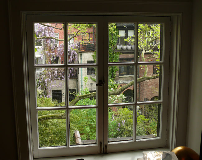A quiet, lush window view makes Sheffer's a home a delightful escape from city life.