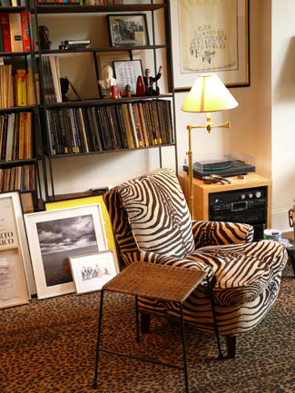 A zebra print chair and leopard print carpet tune in to the animal hide trend without endangering any animals.