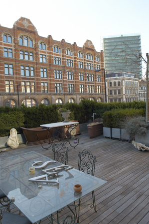 A coveted rooftop deck provides some space to commune with nature.
