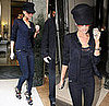 Victoria Beckham Leaving Her London Hotel in a Navy Outfit and Louis Vuitton Sandals