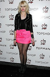 Taylor Momsen Attends TopShop US Opening Wearing a Hot Pink Miniskirt With a Motorcycle Jacket