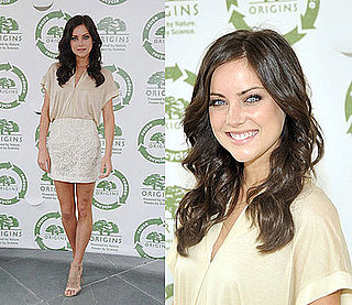 90210 Star Jessica Stroup in Neutral Brian Reyes at the Origins Kicks Off the Return to Origins Recycling Program