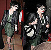Kelly Osbourne Leaves Elton John&#039;s Birthday in Green Leopard Dress and Leather Jacket
