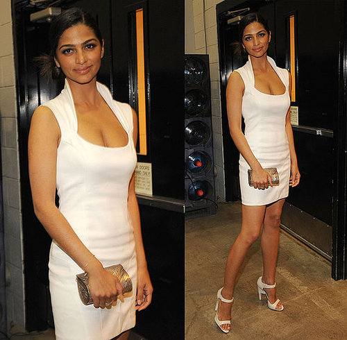 Camila Alves Attends 44th Annual Academy of Country Music Awards in White Futuristic Dress