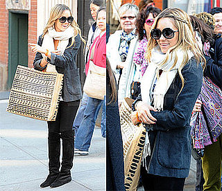 Lauren Conrad Shops at Topshop NYC Wearing Over the Knee Black Suede Boots and Chloe Sunglasses