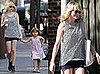 Actress Michelle Williams and Her Daughter Stroll Brooklyn, Michelle Wearing a Black and White Dotted Top and Ray Ban Wayfarers