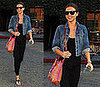 Victoria's Secret Model and Orlando Bloom's Girlfriend Miranda Kerr in LA Wearing a Black Maxi and Denim Jacket