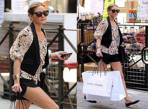 The City's Olivia Palermo Strolls NYC in Diane von Furstenberg Floral Blouse, Black Shorts, and Tom Ford Anouk Sunglasses