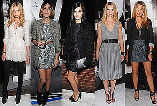 Photo of Lily Donaldson, Alexa Chung, Leigh Lezark, Claire Danes, and Blake Lively at Burberry Party in NYC