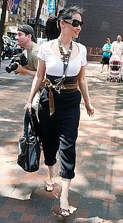 Lucy Liu Leaves NYC Kabbalah Center Wearing Thick Leather Tie Belt