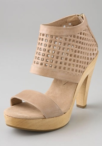 Loeffler Randal Poppy Perforated Wooden Platform Sandals