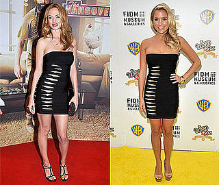 Heather Graham and Kristin Cavallari Wear Herve Leger Black Strapless Slash Dress