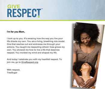 Respect Campaign eCard For Mother's Day