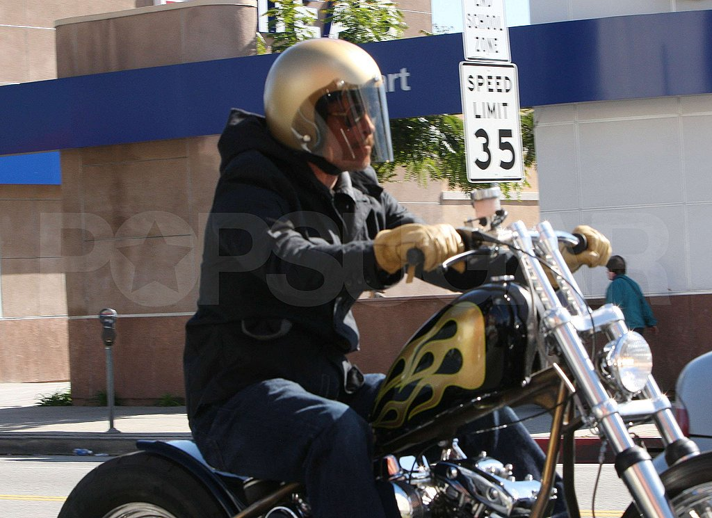 Brad Pitt Riding His Motorcycle