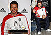 Photos of David Beckham Meeting Manchester United and at Adidas Store in Milan