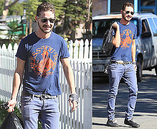 Photos of Shia LaBeouf Riding a Bike in Los Angeles