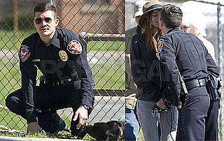 Photos of Orlando Bloom Kissing Miranda Kerr on the Set of Main Street in North Carolina