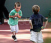 Photo of Cruz and Romeo Beckham Playing Tennis in LA