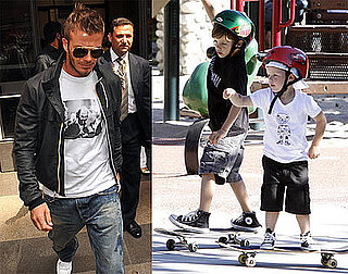 Photos of David Beckham Leaving a Bookstore in Milan, Photos of Cruz Beckham and Romeo Beckham Skateboarding