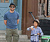 Photo Slide of Hugh Jackman in NYC with His Son