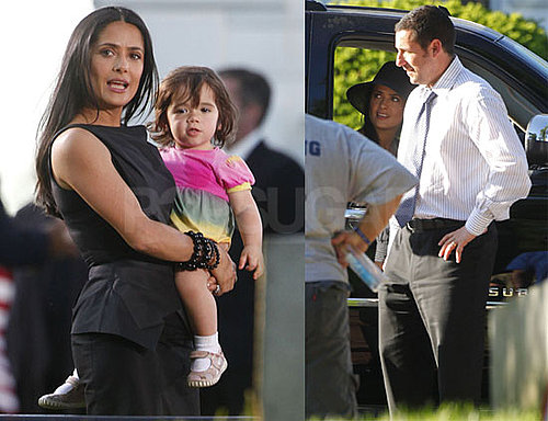 Photos of Salma Hayek, Valentina Pinault, and Adam Sandler Filming Grown Ups