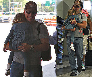 Photos of Matt Damon and Isabella at LaGuardia