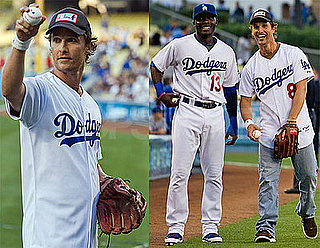 Photos of Matthew McConaughey Throwing Out the Ceremonial First Pitch At Dodger Stadium