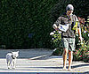 Photo Slide of Matthew McConaughey Walking His Dog Barefoot in Malibu
