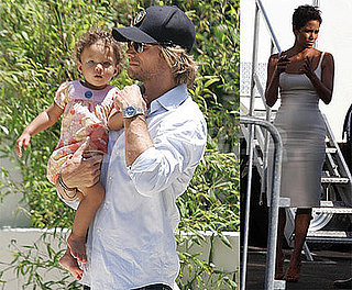 Photos of Gabriel Aubry with Nahla, Halle Berry Filming in LA