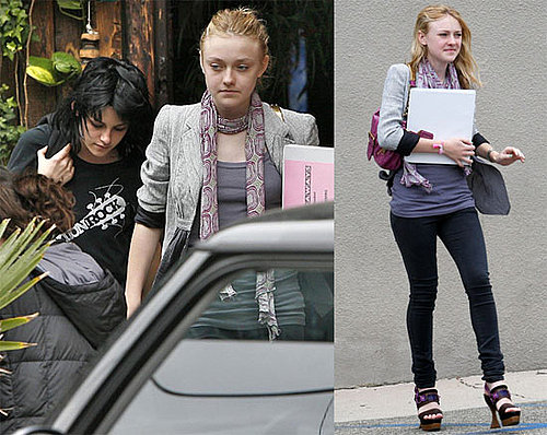 Photos of Dakota Fanning and Kristen Stewart Leaving the Set of The Runaways Without Kristen Stewart