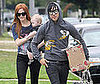 Slide Photo of Ashlee Simpson, Pete Wentz, Bronx Wentz on Father's Day Carrying a Box