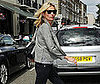 Slide Photo of Kate Moss in a Striped Shirt Having Lunch in England