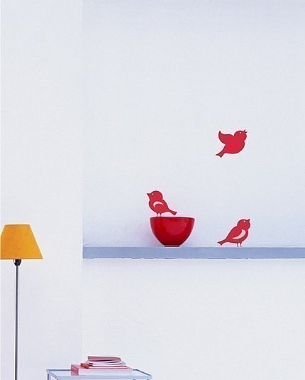 3 Little Birdies Vinyl Wall Decal ($8) 