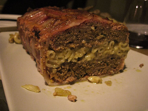 Bacon-Wrapped Meatloaf With A Layer Of Mac And Cheese