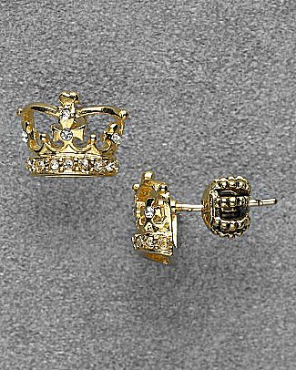 "Juicy Couture Gold Puffed ""Crown"" Pave Studs - Earrings - Bloomingdales.com"