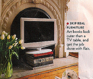 Glamour Magazine Suggests a Stack of Art Books as a Cheap, Alternative Flat Screen TV Stand