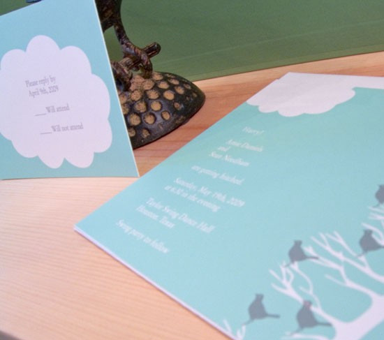 Birds and Clouds Wedding Invitation Set