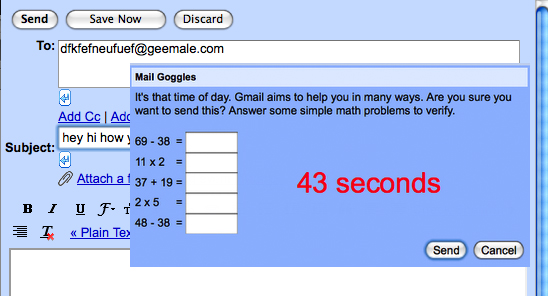 Gmail&#039;s Mail Goggles