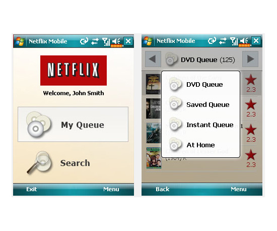 The Netflix Application For Windows Mobile