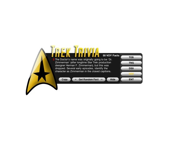 Trek Trivia Dashboard Widget