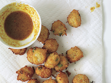 Spicy Crab Hush Puppies and Riesling