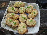 Parmesan-Blue Cheese Crostini with Green Onions