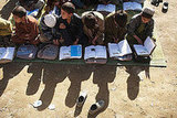 Afghan boys attend a rural school.