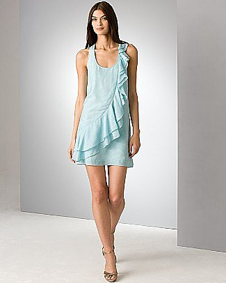 Ali Ro Blue Silk Ruffled Racerback Dress