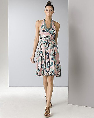 Catherine Malandrino Women's Rose Print Trapeze Dress