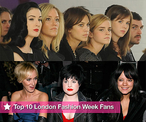 PopSugarUK's Picks for the Top 10 London Fashion Week Fans Including Mischa Barton, Alexa Chung and Emma Watson