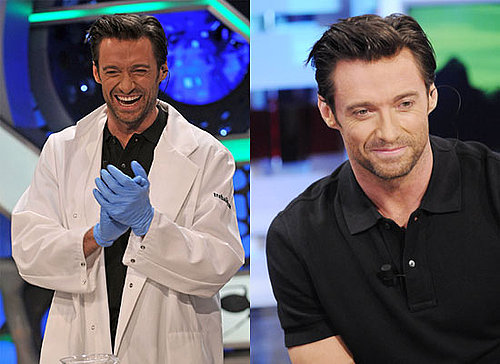 Photos of Hugh Jackman on Spanish TV Show as He Pledges $100,000 to Charity Via Twitter