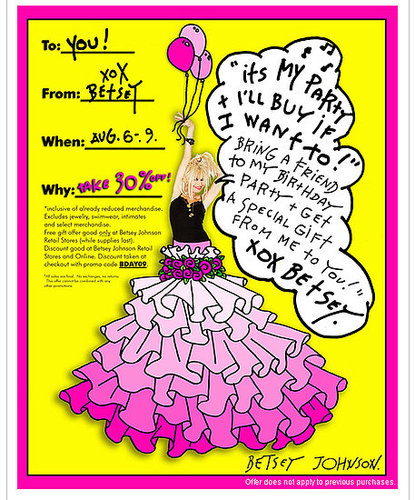Its Betsey Johnson&#039;s Birthday - Take 30% Off Starting Tomorrow!